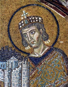 Constantine the Great, mosaic in Hagia Sophia, Constantinople, c. 1000; (present-day Istanbul.