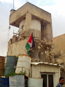 Shelled tower at Palestinian President?s compound, Ramallah